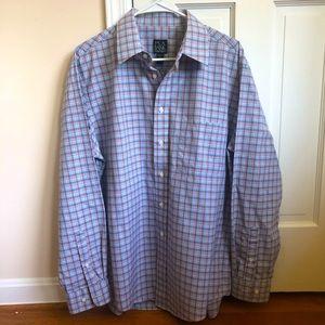 Jos. A. Bank Blue Plaid Button Down Shirt Large